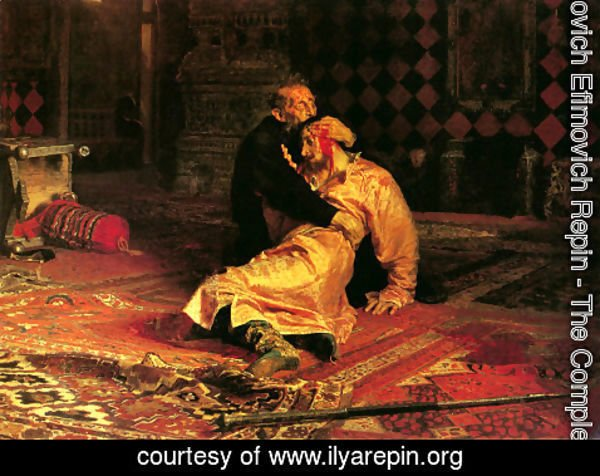 Ilya Efimovich Efimovich Repin - Ivan the Terrible and His Son Ivan on November 16, 1581