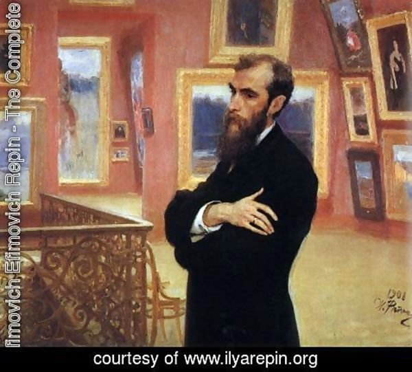 Ilya Efimovich Efimovich Repin - Portrait of Pavel Tretyakov (1832-98) in the Gallery, 1901