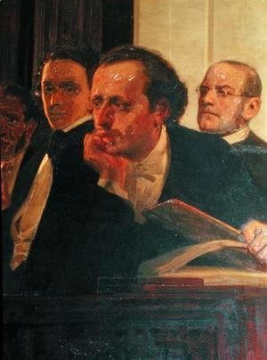 Ilya Efimovich Efimovich Repin - Michal Kleopas Oginski (1765-1833), Frederic Chopin (1810-49) and Stanislaw Moniuszko (1819-72), from Slavonic Composers, 1890s (detail)