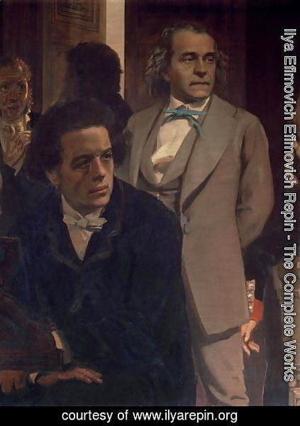 Anton Grigoryevich Rubinstein (1829-94) and Alexander Nikolayevich Serov (1820-71), from Slavonic Composers, 1890s (detail)