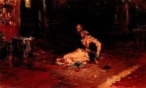 Ilya Efimovich Efimovich Repin - Ivan the Terrible and his son Ivan 1870-1873 (sketch)