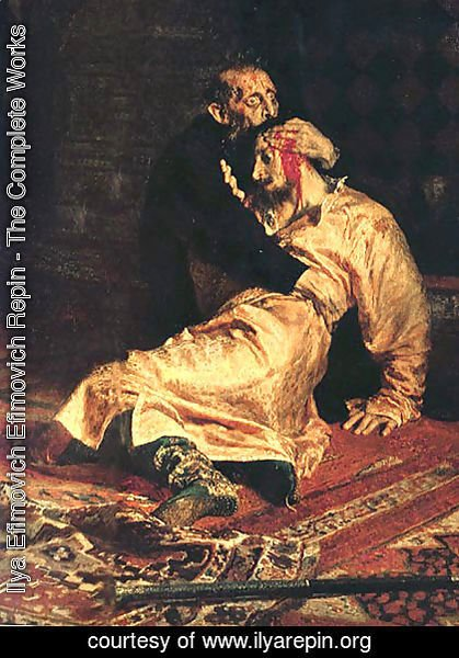 Ilya Efimovich Efimovich Repin - Ivan the Terrible and His Son Ivan on November 16, 1581 [detail] 2
