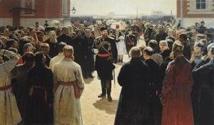 Ilya Efimovich Efimovich Repin - Aleksander III receiving rural district elders in the yard of Petrovsky Palace in Moscow