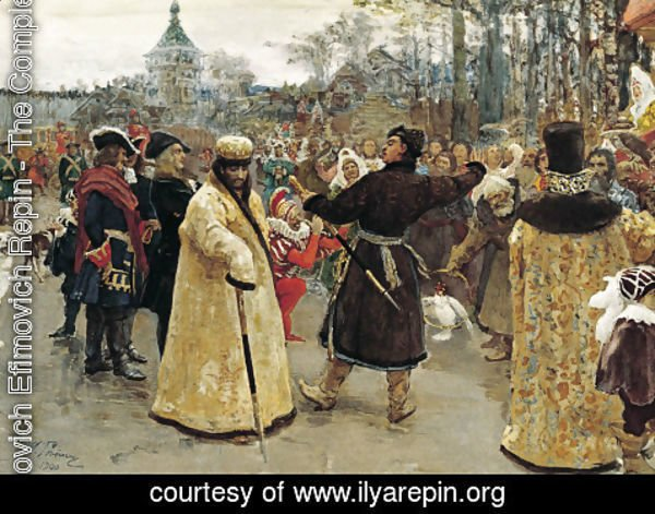 Ilya Efimovich Efimovich Repin - Arrival of the tsars Peter I and Ivan V