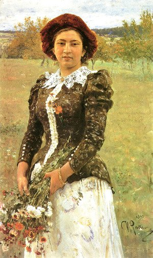 Ilya Efimovich Efimovich Repin - Autumn Bunch. Portrait of Vera Ilyinichna Repina, the Artist's Daughter