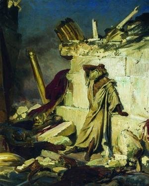 Cry of prophet Jeremiah on the Ruins of Jerusalem (on a Bible subject)