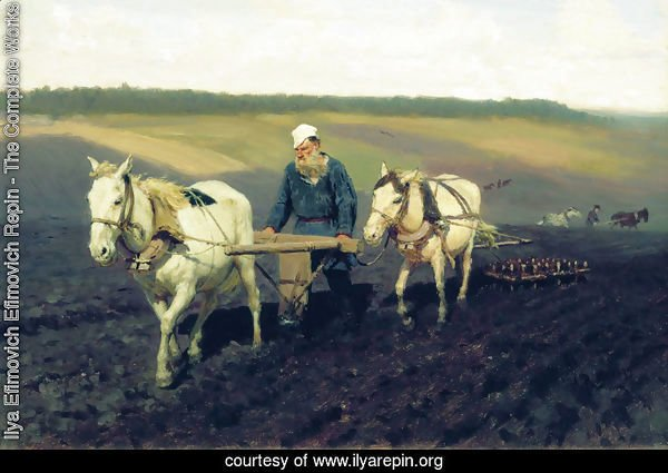 Ploughman. Lev Nikolayevich Tolstoy in the ploughland