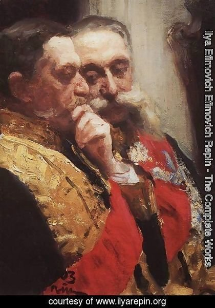Ilya Efimovich Efimovich Repin - Portrait of members of State Council Ivan Logginovich Goremykin and Nikolai Nikolayevich Gerard