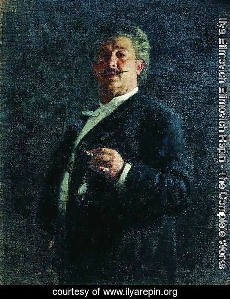 Ilya Efimovich Efimovich Repin - Portrait of painter and sculptor Mikhail Osipovich Mikeshin