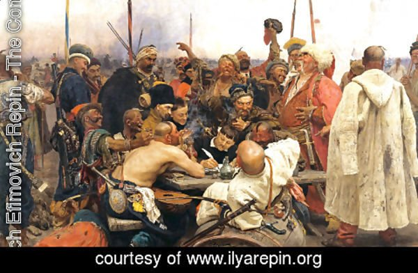 Ilya Efimovich Efimovich Repin - Reply of the Zaporozhian Cossacks to Sultan Mehmed IV of Turkey