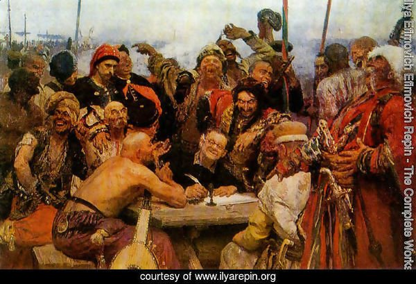 The Reply of the Zaporozhian Cossacks to Sultan of Turkey, sketch