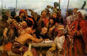 Ilya Efimovich Efimovich Repin - The Reply of the Zaporozhian Cossacks to Sultan of Turkey, sketch