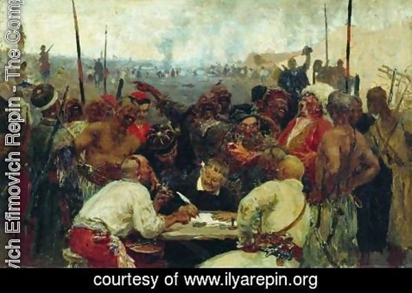 Ilya Efimovich Efimovich Repin - The Reply of the Zaporozhian Cossacks to Sultan of Turkey, sketch 2