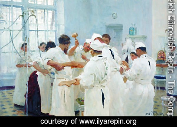 Ilya Efimovich Efimovich Repin - The Surgeon Evgueni Vasilievich Pavlov in the Operating Theater