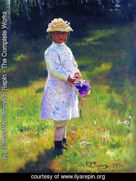 Ilya Efimovich Efimovich Repin - Girl With Flowers Daughter Of The Artist 1878