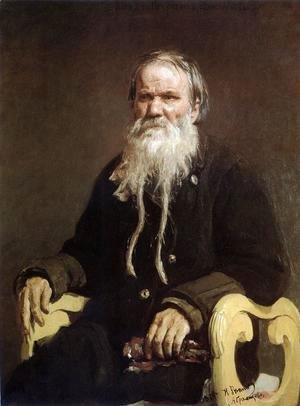 Ilya Efimovich Efimovich Repin - Portrait Of The Narrator Of The Folk Tales V Tschegolionkov 1879