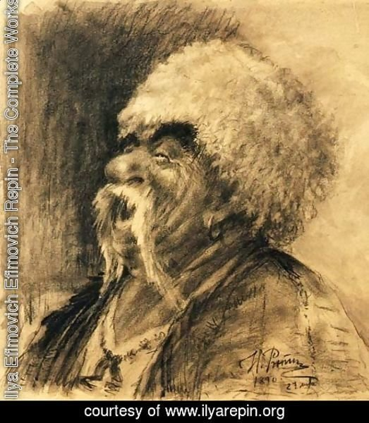Ilya Efimovich Efimovich Repin - Portrait of a laughing Cossack