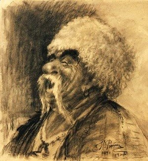 Portrait of a laughing Cossack