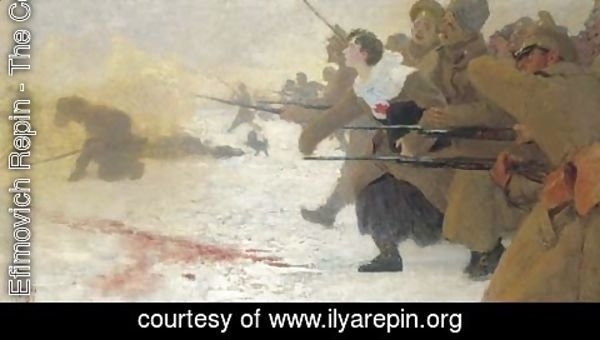 Ilya Efimovich Efimovich Repin - The Attack with the Red Cross Nurse