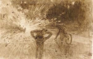 Ilya Efimovich Efimovich Repin - Monochrome Sketch Of The Terrorist Attack In 1916 On King Albert I Of Belgium