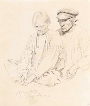 Study Of Peasant Boy And Man