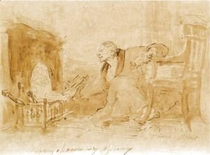 Man In A Dressing Gown Stoking A Fire