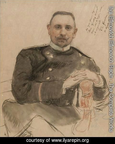 Ilya Efimovich Efimovich Repin - Portrait Of The Collector Stepan Petrovich Kratchkovsky (1866-1913)