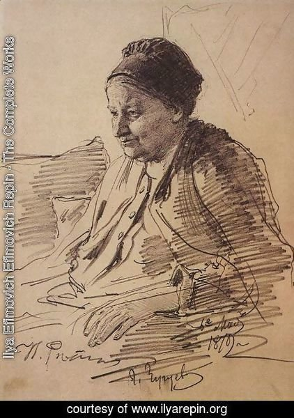 Ilya Efimovich Efimovich Repin - Portrait of T.S. Repina, mother of the artist