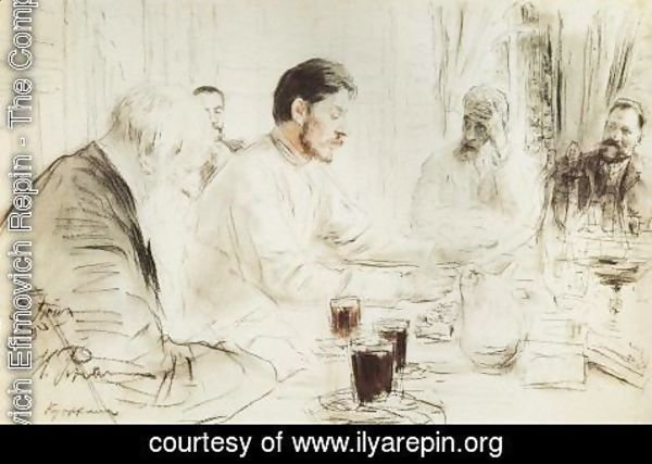 Ilya Efimovich Efimovich Repin - Maxim Gorky reading in The Penates his drama Children of the Sun