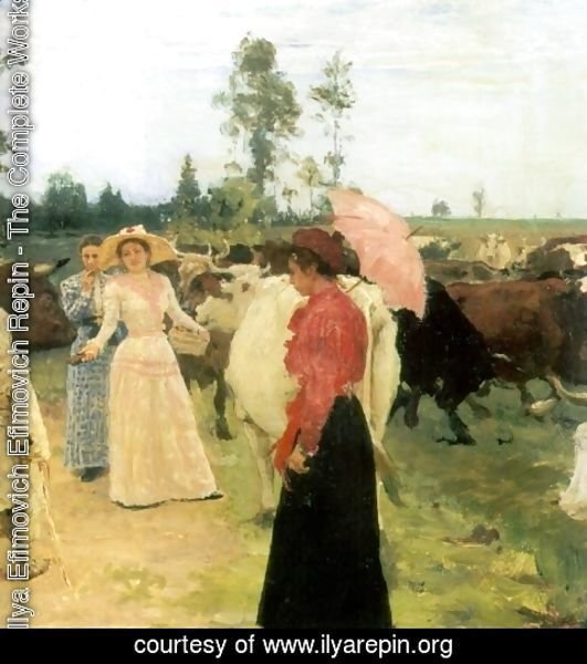 Ilya Efimovich Efimovich Repin - Young ladys walk among herd of cow (detail)