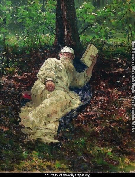 Leo Tolstoy in the forest
