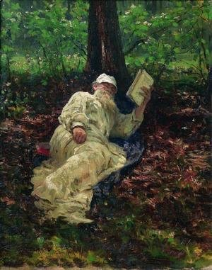 Ilya Efimovich Efimovich Repin - Leo Tolstoy in the forest