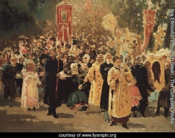 Religious procession in an oak forest. Appearance of the icon