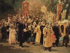 Ilya Efimovich Efimovich Repin - Religious procession in an oak forest. Appearance of the icon