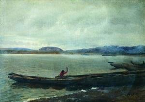 Ilya Efimovich Efimovich Repin - Landscape of the Volga with boats