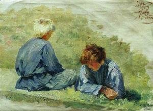 Ilya Efimovich Efimovich Repin - The boys on the grass