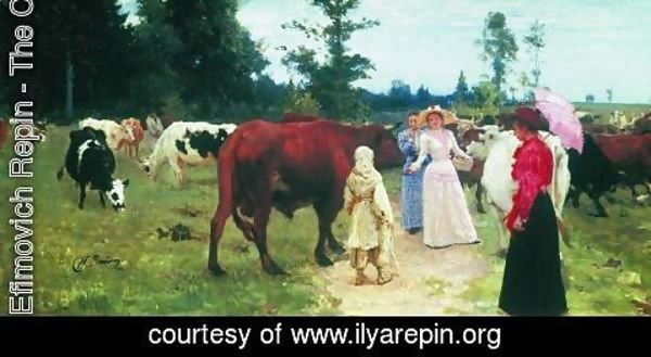 Ilya Efimovich Efimovich Repin - Young ladys walk among herd of cow