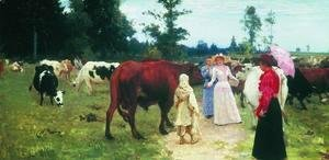Young ladys walk among herd of cow