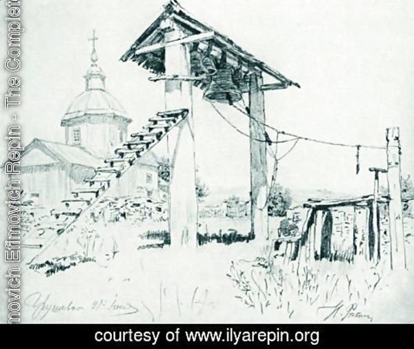 Ilya Efimovich Efimovich Repin - Church and bell tower in Chuguyev