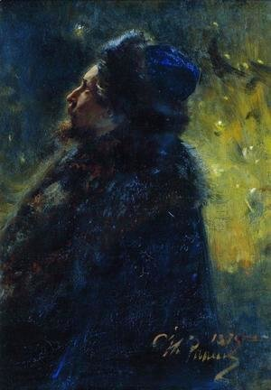 Ilya Efimovich Efimovich Repin - Portrait of painter Viktor Mikhailovich Vasnetsov. Study for the picture Sadko in the Underwater Kingdom.