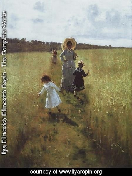Ilya Efimovich Efimovich Repin - On the boundary path. V.A. Repina with children going on the boundary path