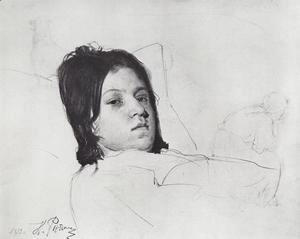 Ilya Efimovich Efimovich Repin - Woman's Head (V.A. Repina lying in bed)