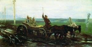 Ilya Efimovich Efimovich Repin - Under escort. On the muddy road