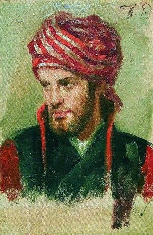Ilya Efimovich Efimovich Repin - Portrait of a young man in a turban