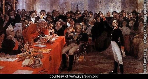 A. Pushkin on the act in the Lyceum on Jan. 8, 1815 reads his poem memories in Tsarskoe Selo