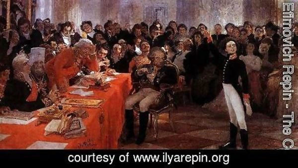 Ilya Efimovich Efimovich Repin - A. Pushkin on the act in the Lyceum on Jan. 8, 1815 reads his poem memories in Tsarskoe Selo