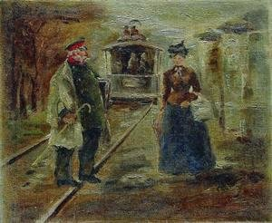 Ilya Efimovich Efimovich Repin - On the platform of the station. Street scene with a receding carriage